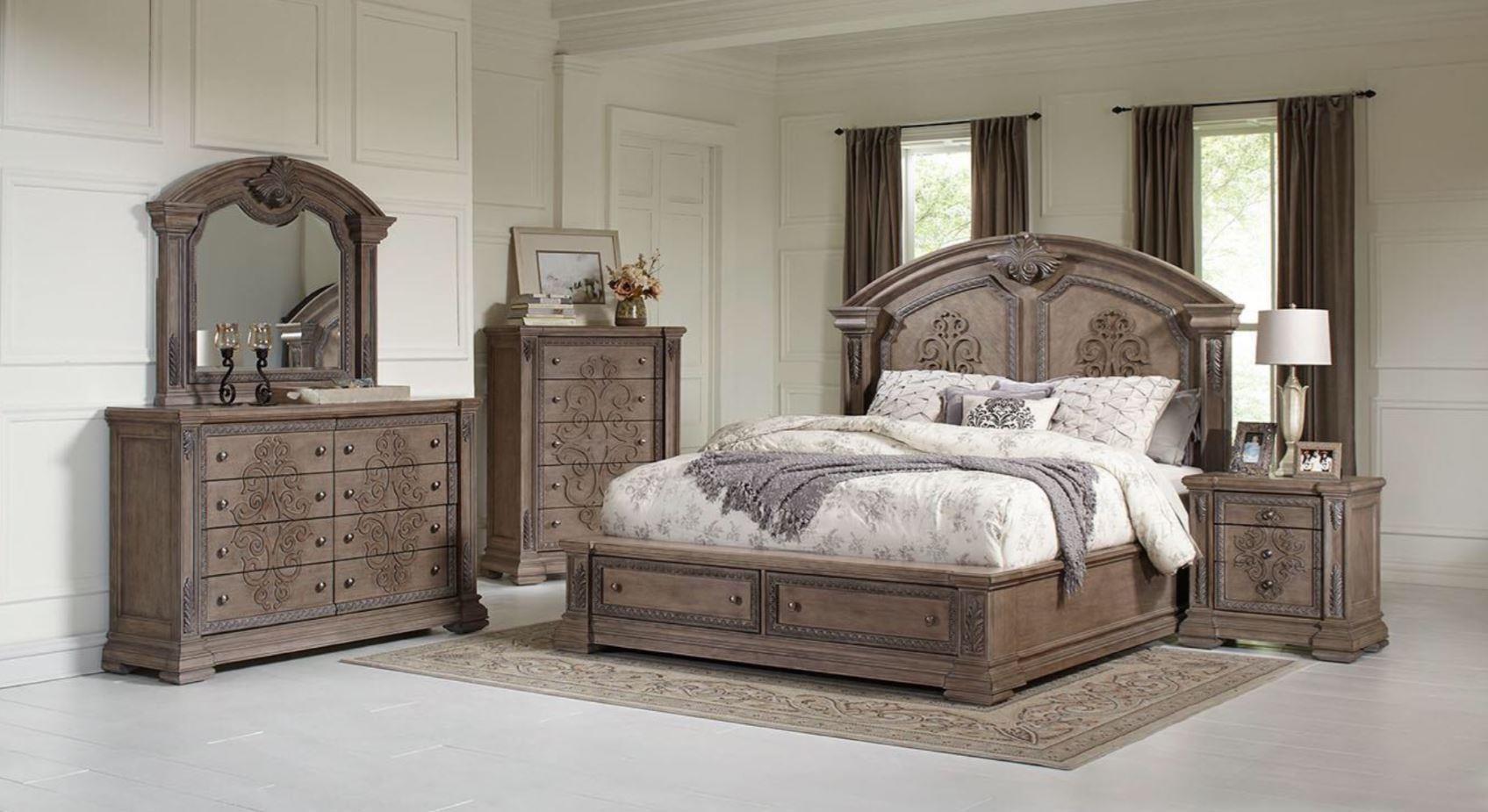 King Storage Bed, Dresser, Mirror & Nightsta