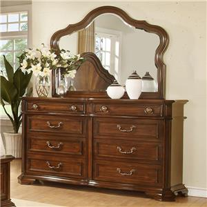 B00310 Traditional 8 Drawer Dresser and Mirror by Avalon Furniture