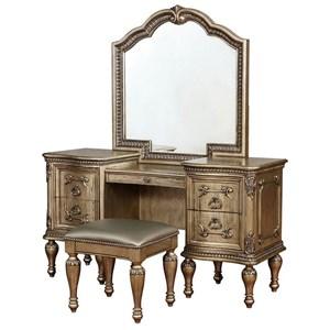 Vanity Mirror and Stool Set
