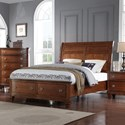 Avalon Furniture B068 Queen Storage Bed with Sleigh Headboard - Item Number: B068-5H+5F+56R