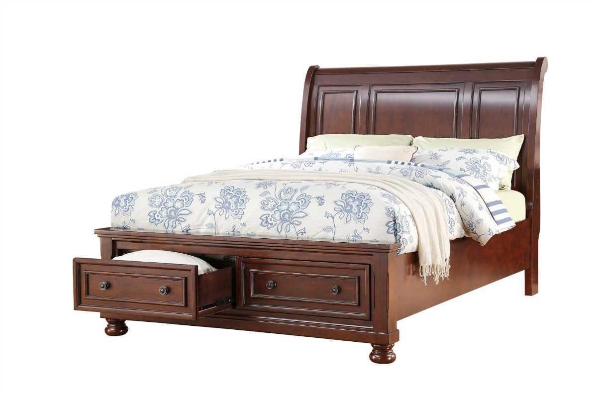 Victorian king storage beds with drawers - Avalon Furniture Houston Cherry King Storage Bed