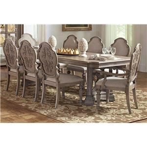 Dining Table, 6 Side Chairs and 2 Arms Chair