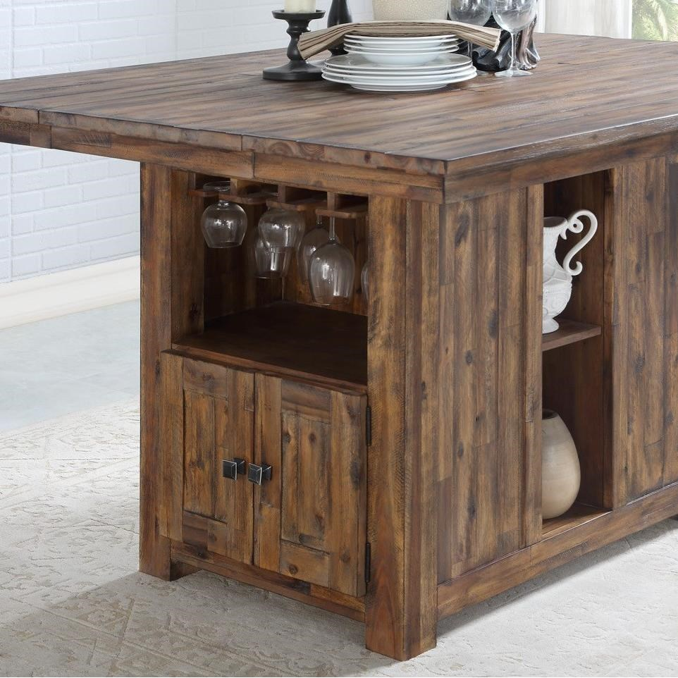 rustic solid wood kitchen island with built in bottle