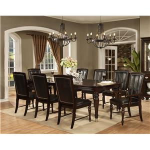 Avalon Furniture Dundee Place 9 Piece Leg Table with 2 Leaf Set