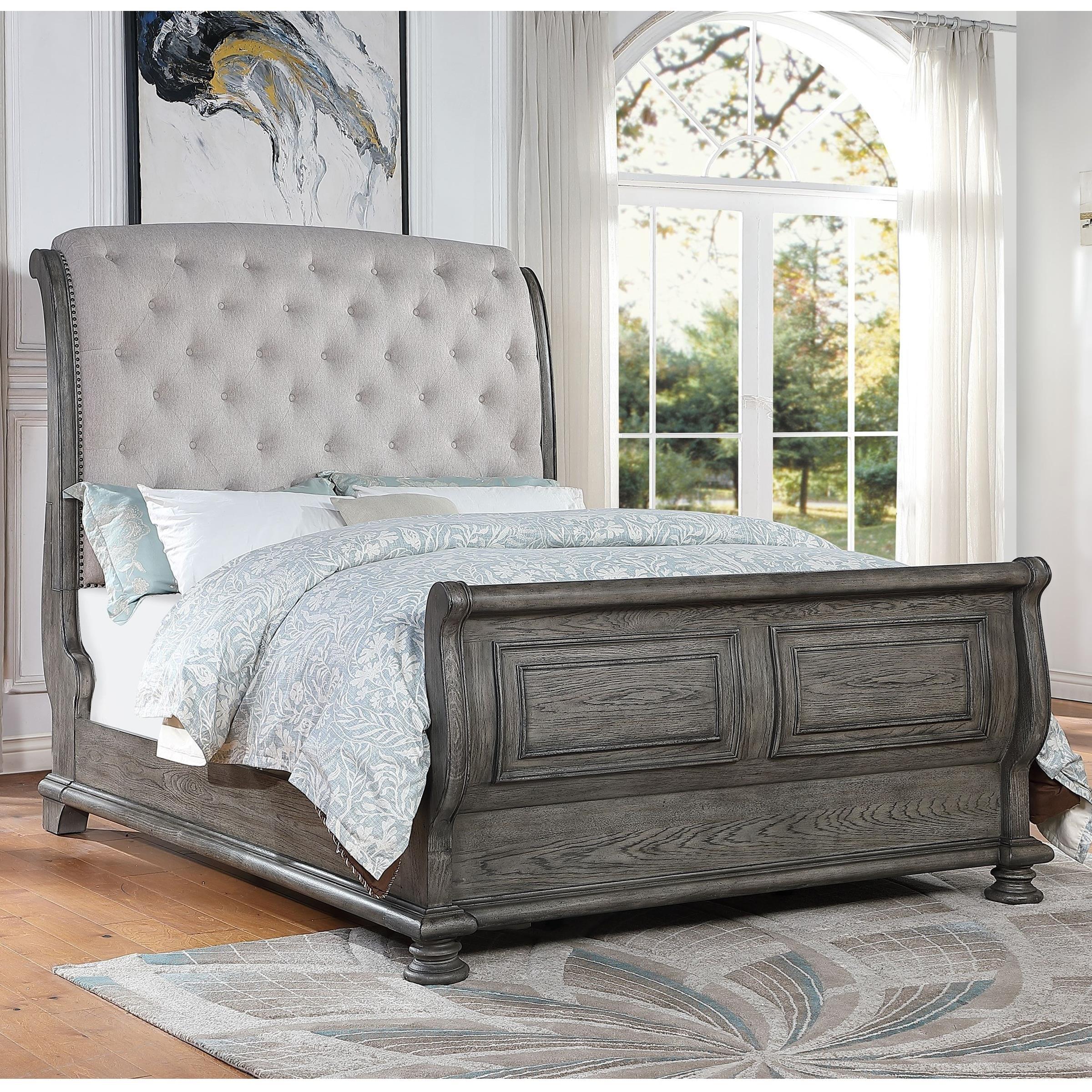 Avalon Furniture Lakeway King Upholstered Sleigh Bed With Tufted Headboard Story Lee Furniture Upholstered Beds