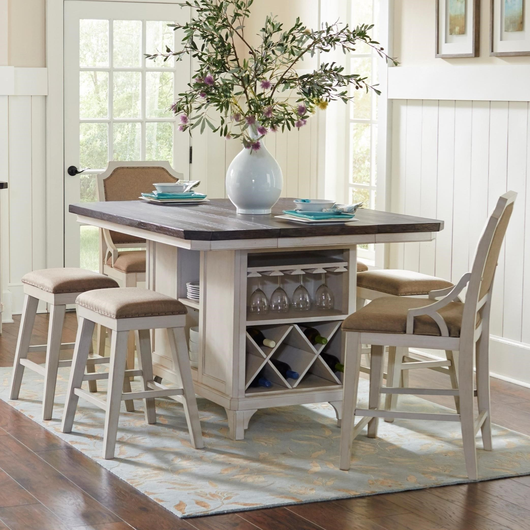 7 piece kitchen island table set mystic cay by avalon - Kitchen island with stools ...