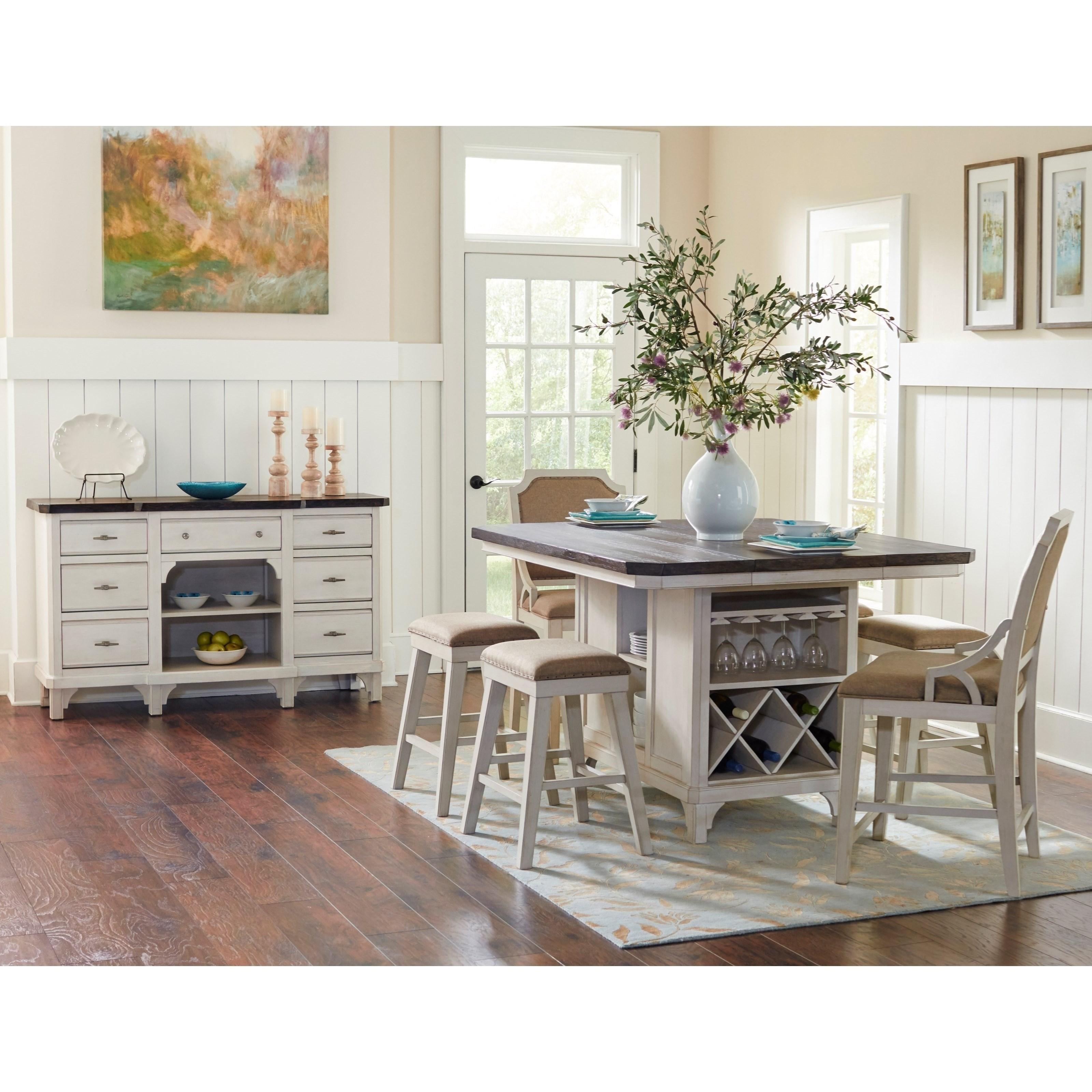 Avalon Furniture Mystic Cay 7 Piece Kitchen Island Table