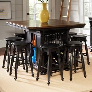 avalon furniture rivington hall 9piece kitchen island table set