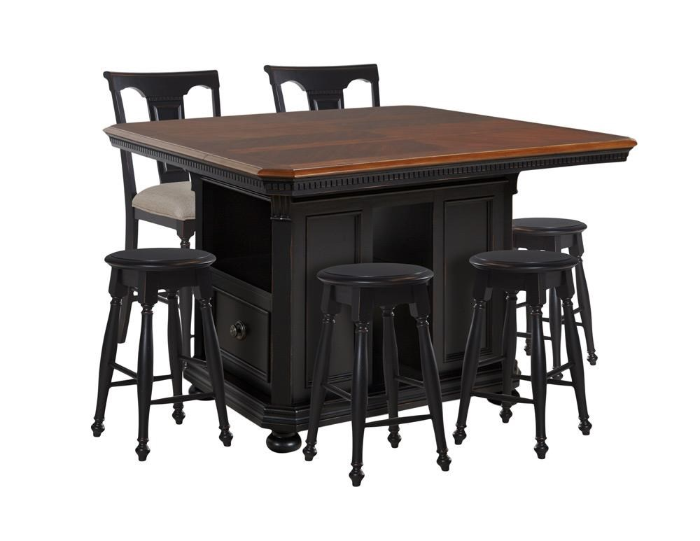 Avalon Furniture Rivington Hall Kitchen Island, 4 Backless Stools & 2 Gather - Item Number: GRP-D00218-TBL 6