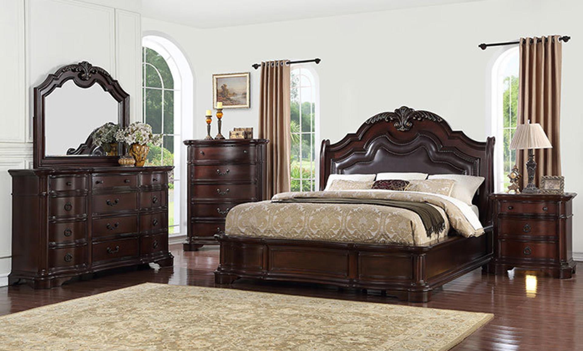 Queen Bed, Dresser, Mirror, and Nightstand w