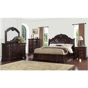 Avalon Furniture Lavon Lake Queen Bed, Dresser, Mirror, and Nightstand w