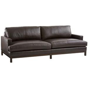 Horizon Sofa w/ Dark Brown Leather & Bronze