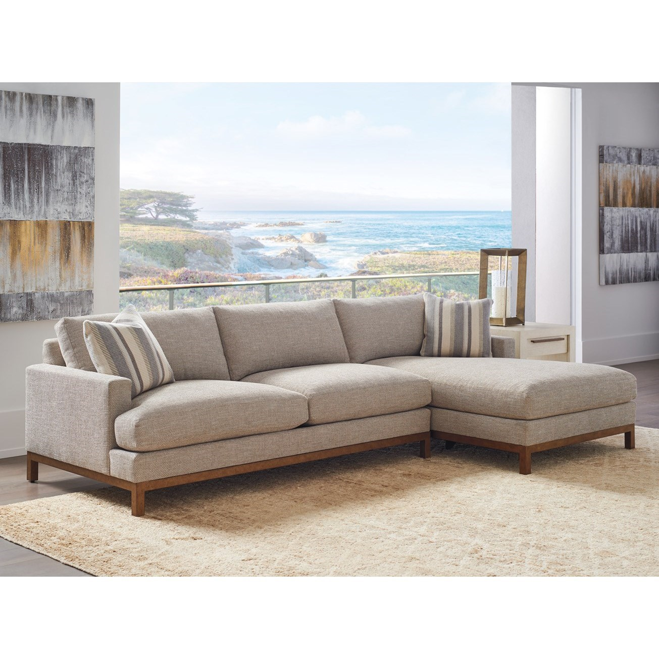 Barclay Butera Upholstery 2-Pc Sectional w/ Brass Base & RAF Chaise by Barclay Butera at Baer's Furniture