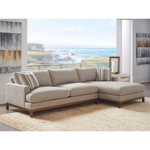 2-Pc Sectional w/ Brass Base & RAF Chaise
