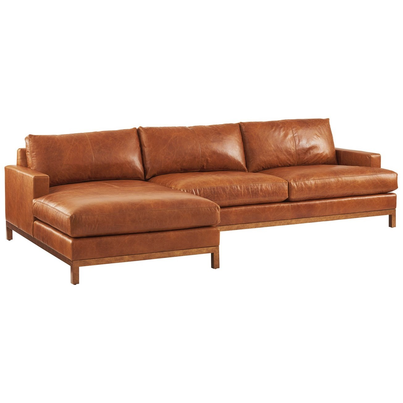 Barclay Butera Upholstery 2-Piece Leather Sectional Sofa w/Brass Base by Barclay Butera at Baer's Furniture