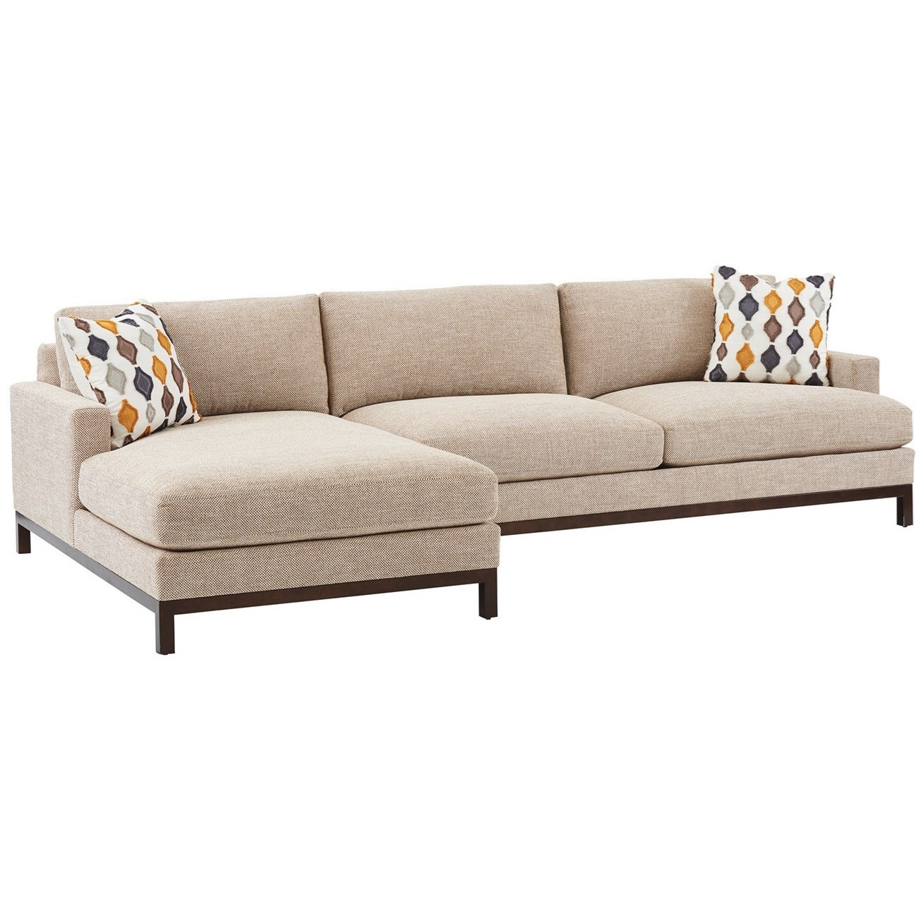 Barclay Butera Upholstery 2-Pc Sectional w/ Bronze Base & LAF Chaise by Barclay Butera at Baer's Furniture