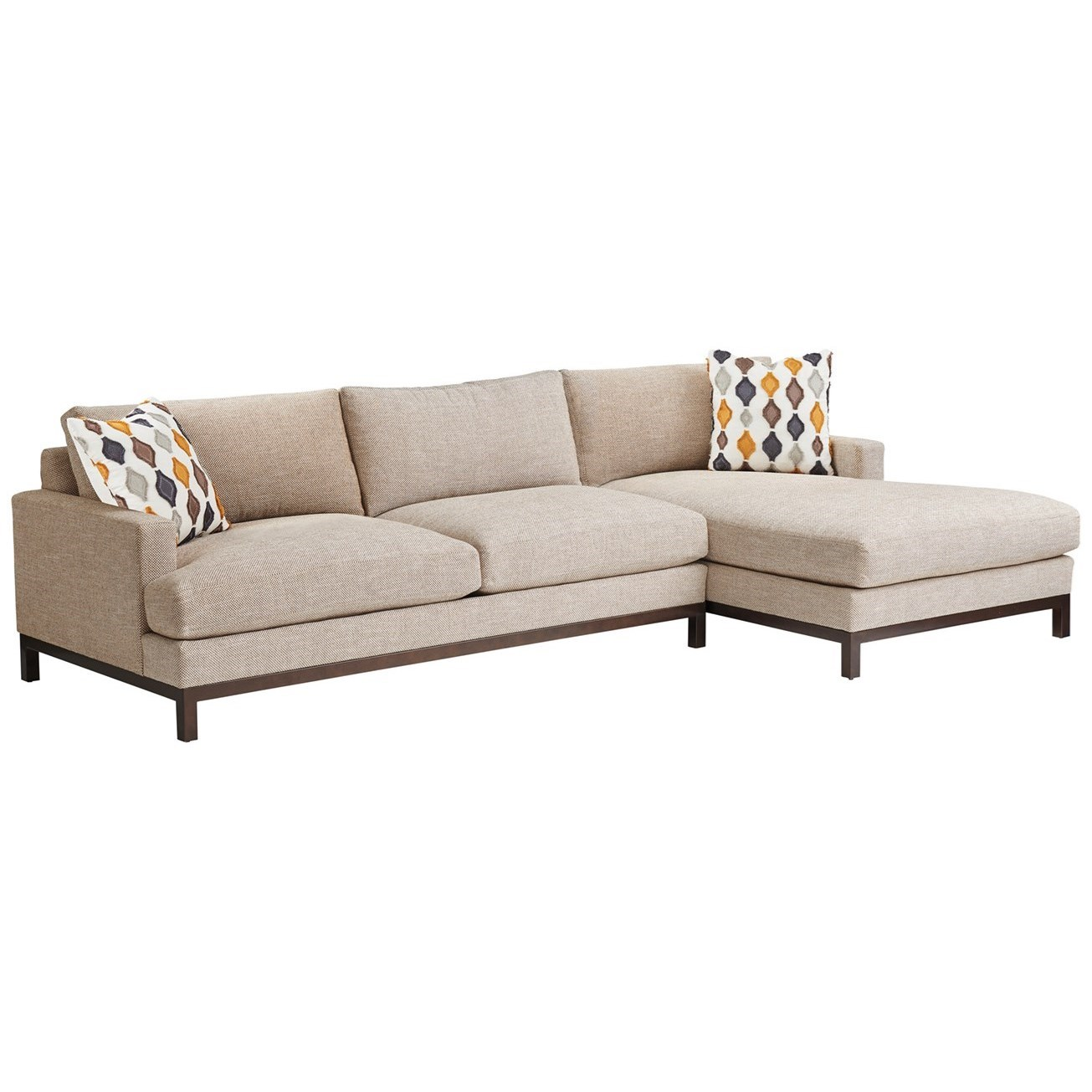 Barclay Butera Upholstery 2-Pc Sectional w/ Bronze Base & RAF Chaise by Barclay Butera at Baer's Furniture