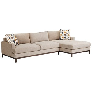 2-Pc Sectional w/ Bronze Base & RAF Chaise