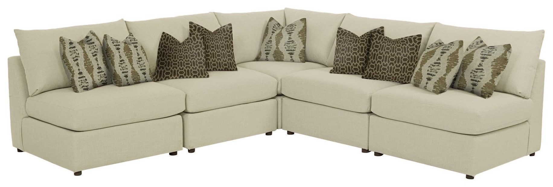 Beckham 5 pc L-Shaped Sectional in Straw wit