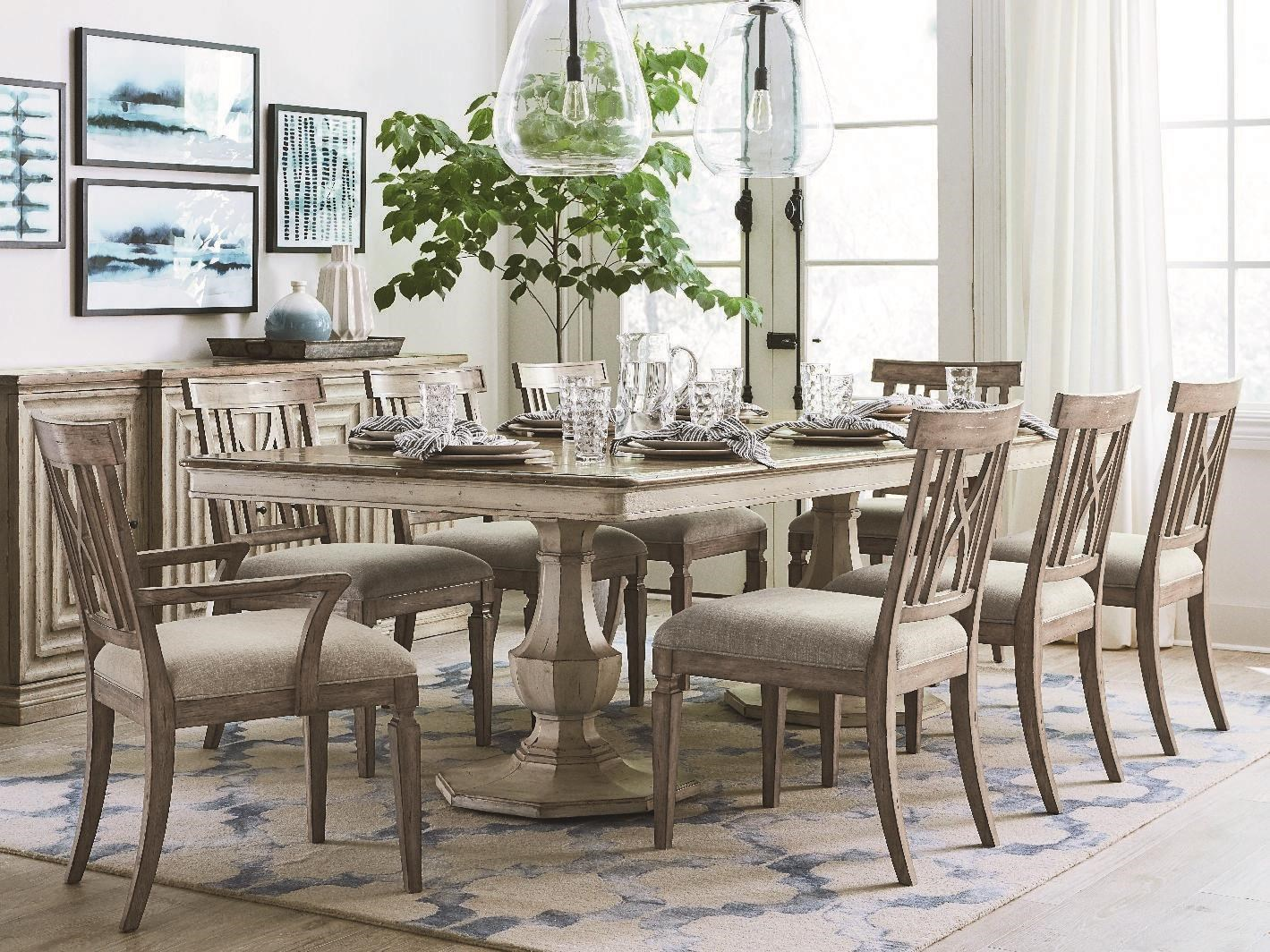 Dining Table, 6 Side Chairs, & 2 Arm Chairs