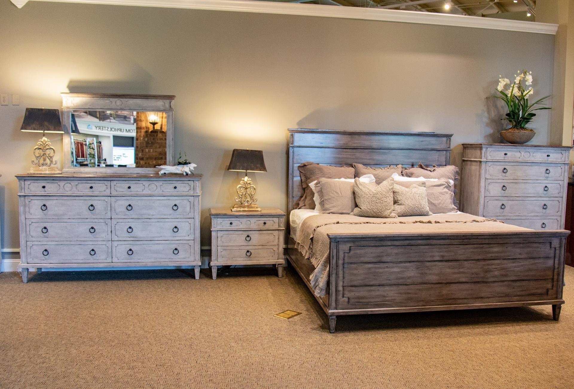 Bassett Verona Queen Bed, Dresser, Mirror, & Nightstand - Item Number: GRP-2834D-QUEENSUITE