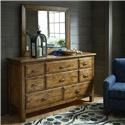 Bassett Woodhaven King Leather Panel Bed, Dresser, Mirror & Nightstand