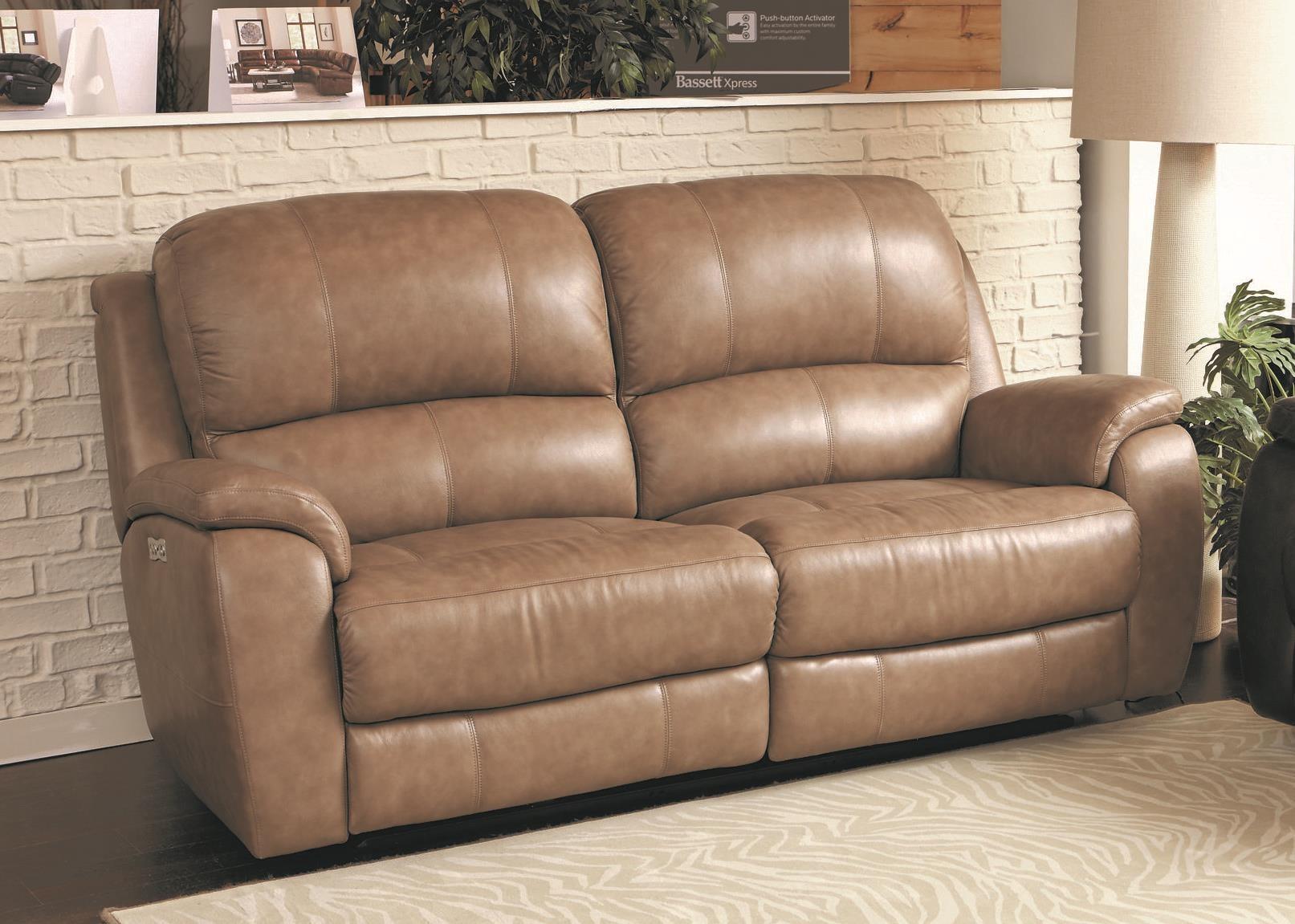 Bassett Godfrey Mushroom Leather Power Reclining Sofa - Item Number: 3700-P62M