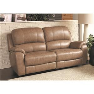 Bassett Godfrey Mushroom Leather Power Reclining Sofa