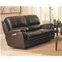 Bassett Godfrey Brown Leather Power Reclining Sofa - Item Number: 3700-P62R