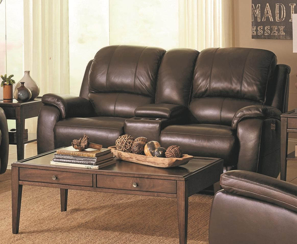 Bassett Godfrey Brown Leather Power Reclining Console Lovese - Item Number: 3700-PC42R