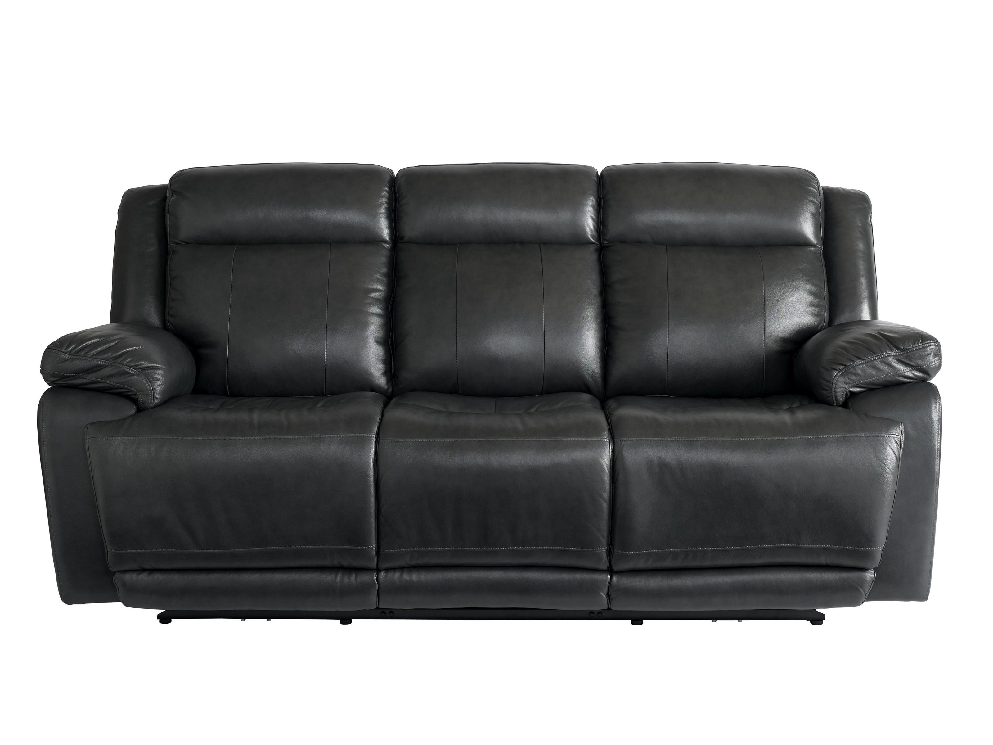 Bassett Club Level Evo Graphite Leather Power Reclining Sofa with