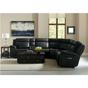 Bassett Club Level Evo Graphite Full Power Leather 6pc Reclining Se