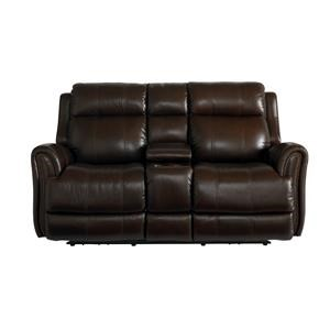 Bassett Marquee Chocolate Lthr Pwr Recl Console Loveseat w/P