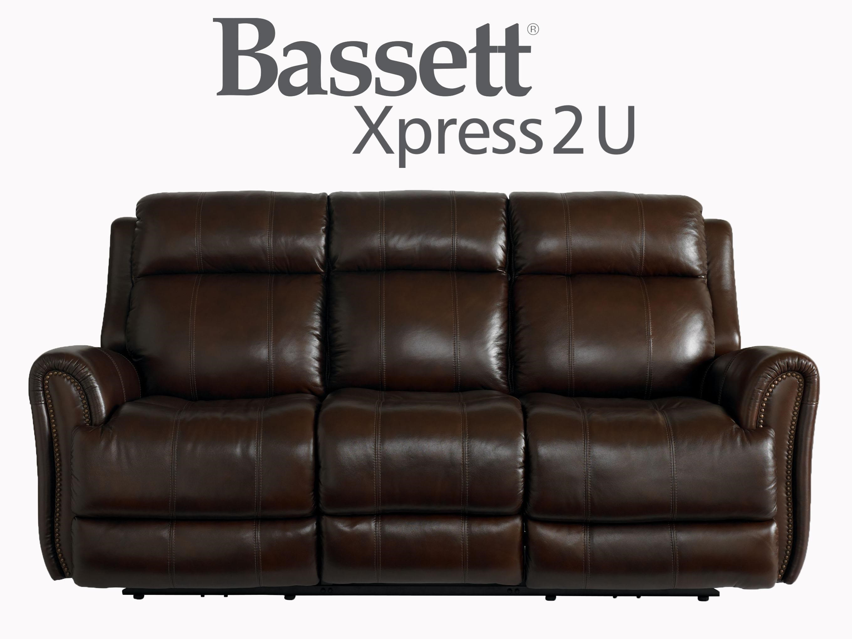 Bassett Marquee Leather Power Reclining Sofa With Power