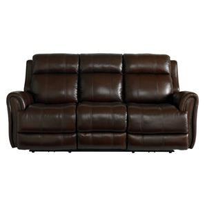 Bassett Marquee Leather Pwr Reclining Sofa w/Pwr Headrest