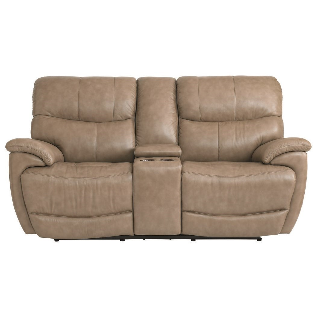 Brookville Console Power Reclining Love Seat by Bassett at Fashion Furniture
