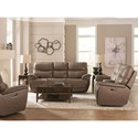 Bassett Brookville Casual Power Reclining Console Love Seat with Power Headrest and USB Port
