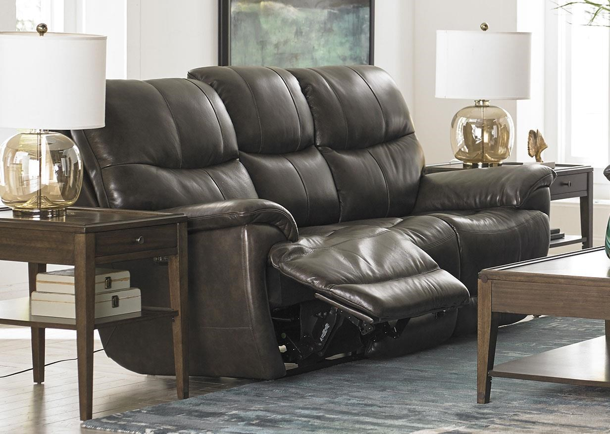 Bassett Brookville Leather Reclining Sofa With Power Head and F - Item Number: 3713-P62T
