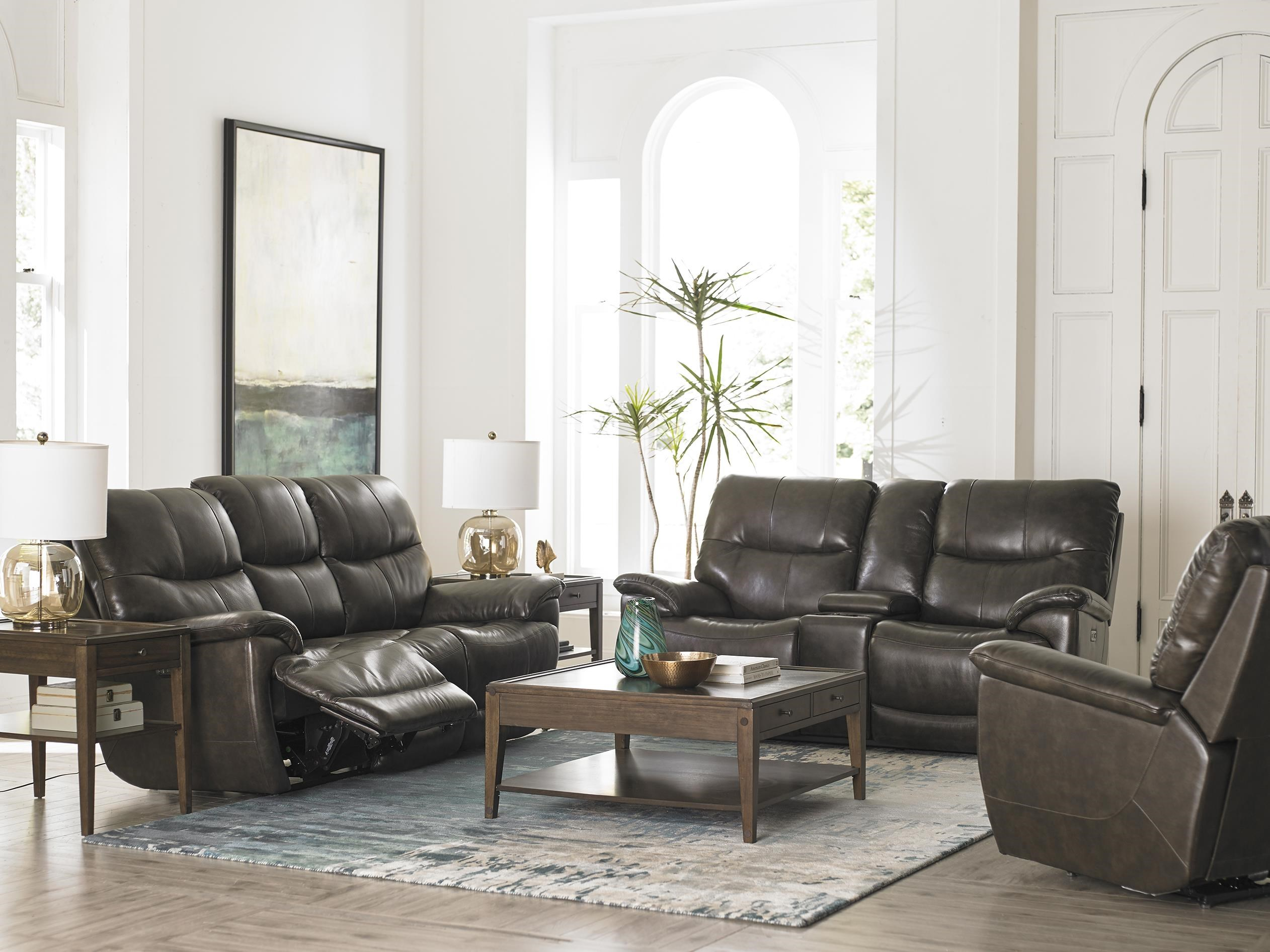 Bassett Brookville 3713 P62t Leather Reclining Sofa With