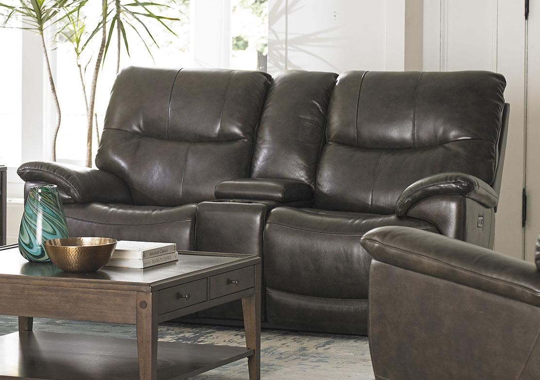 Leather Reclining Console Loveseat With Powe