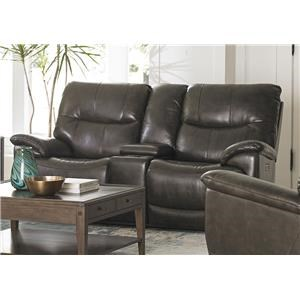 Bassett Brookville Leather Reclining Console Loveseat With Powe