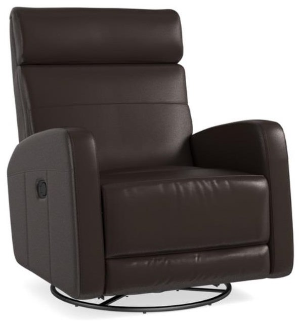 Bassett Newport Swivel Glider Recliner in Cocoa Leather - Item Number: 3759-9C N-1