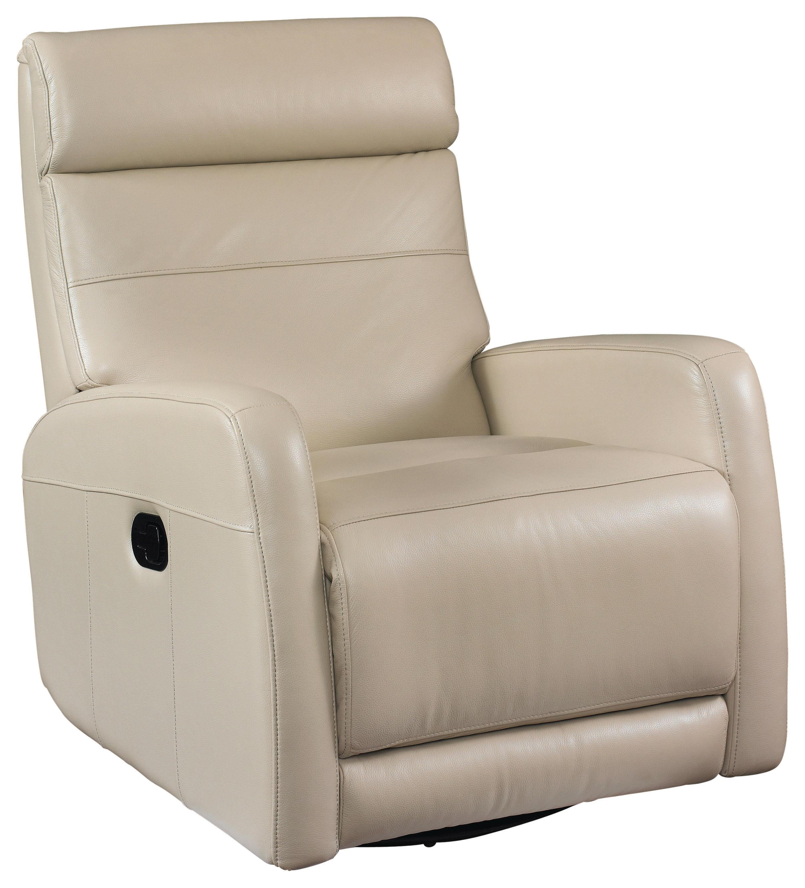 Swivel Glider Recliner in Taupe Leather