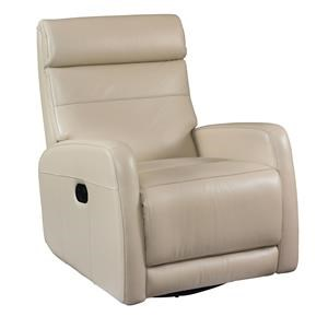Bassett Newport Swivel Glider Recliner in Taupe Leather
