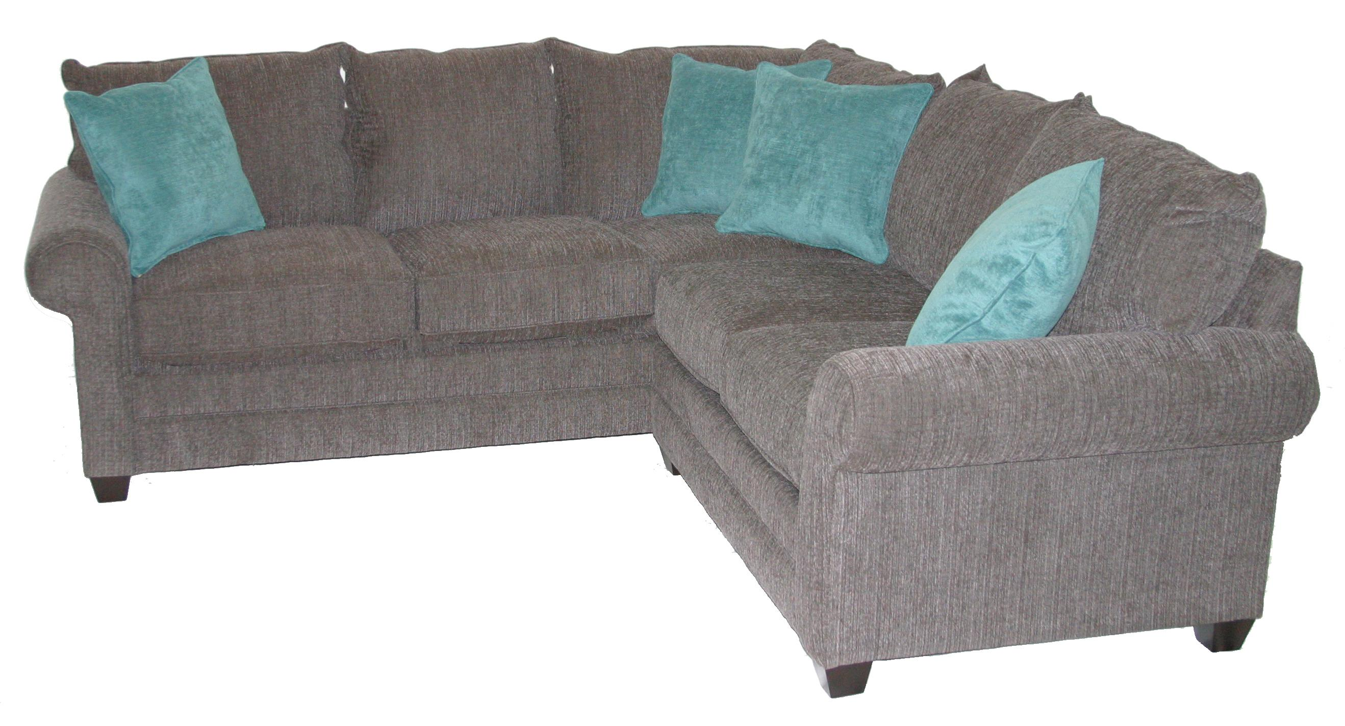 Bassett Alex 3989 Casual 2 Piece Sectional Sofa with Rolled Arms