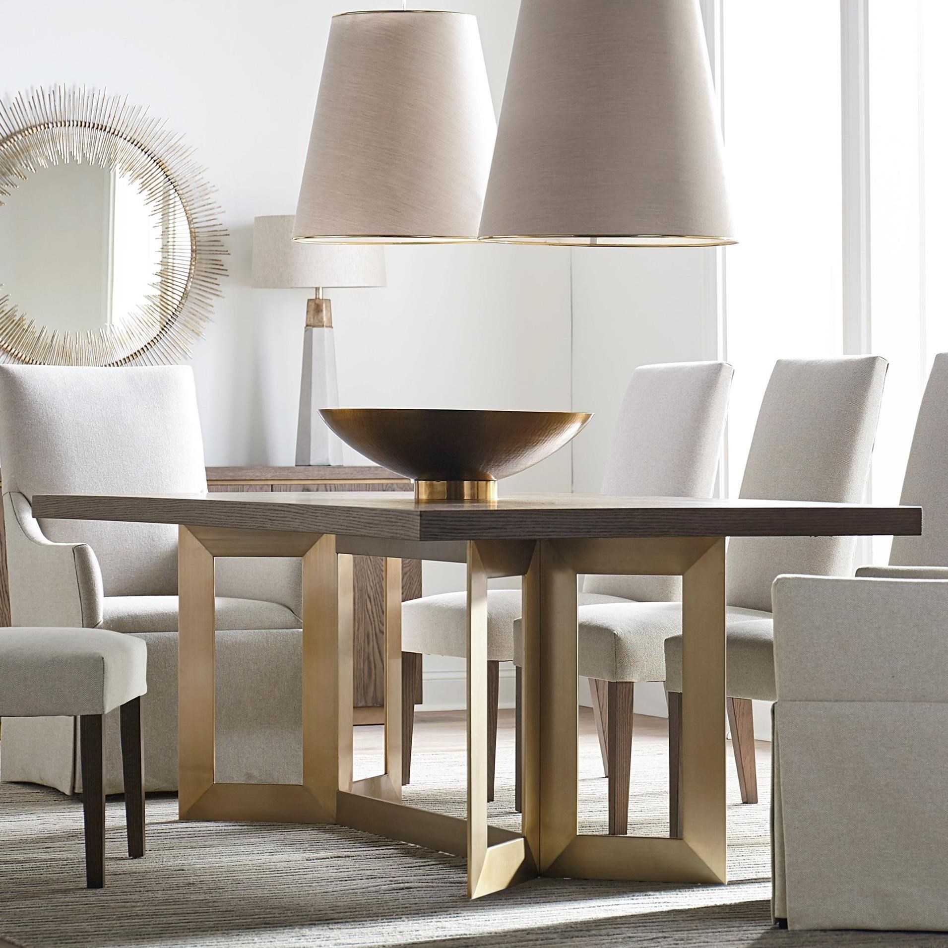 """Modern - Astor and Rivoli 90"""" Dining Table by Bassett at Fisher Home Furnishings"""