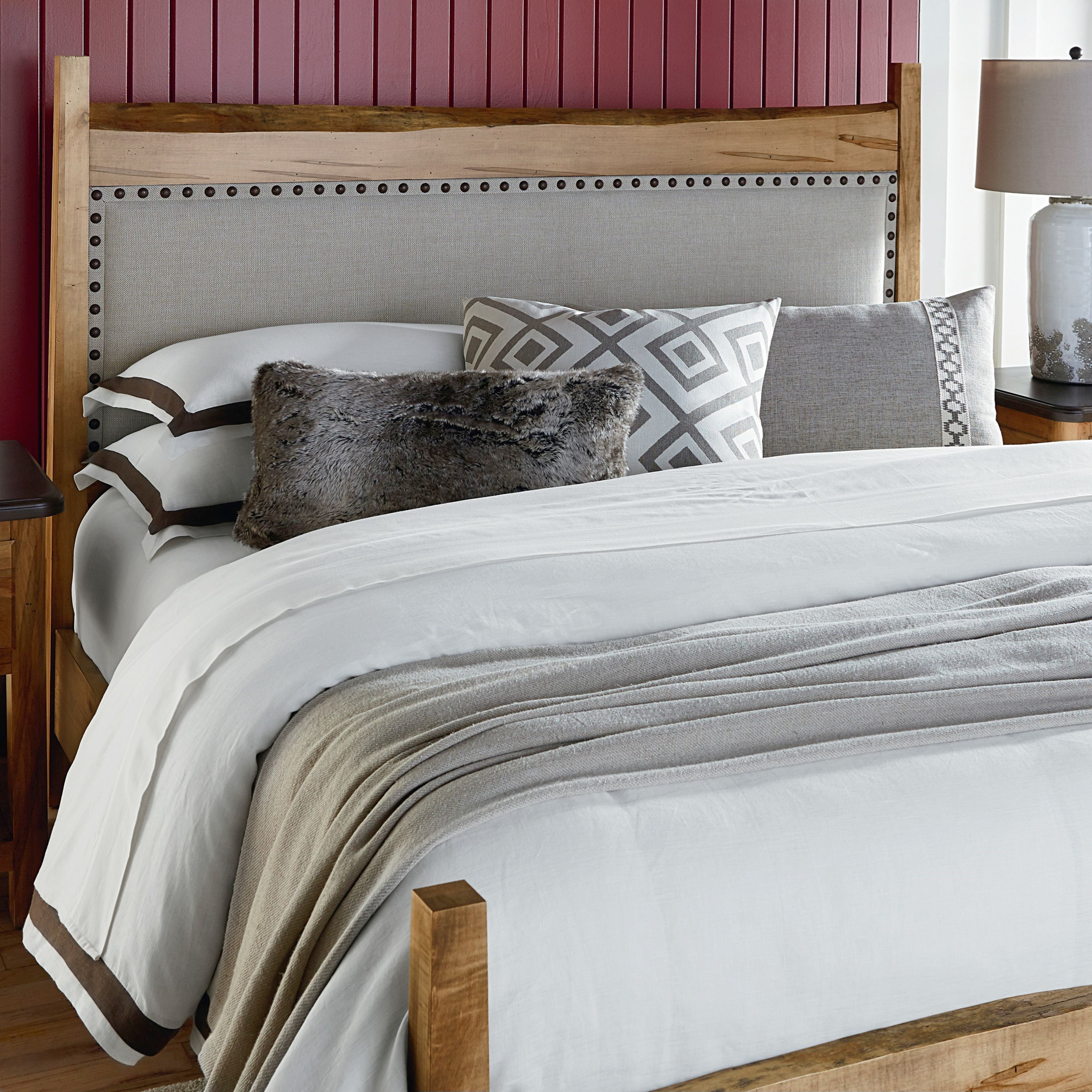 Bench By Bed: Bassett Bench Made Maple Upholstered Queen Panel Bed With