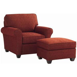 Bassett Brewster Upholstered Chair and Ottoman