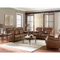 Bassett Bridgeport - Club Level Reclining Living Room Group - Item Number: 3723 Living Room Group 1-Umber