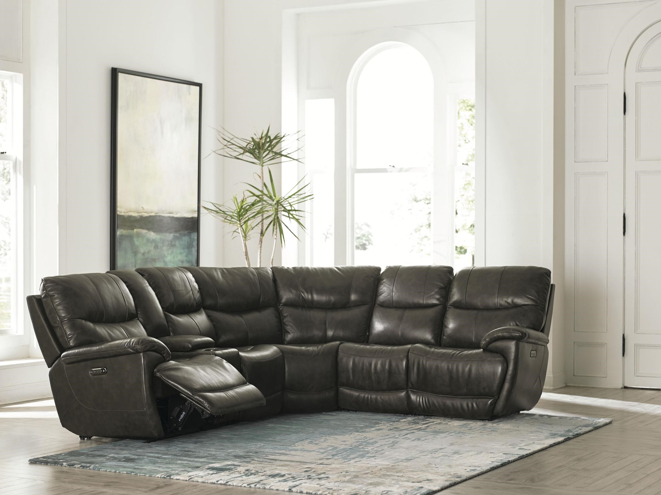 Brookville - Club Level by Bassett 6 Piece Top Grain Leather Match Power Sectio by Bassett at Darvin Furniture